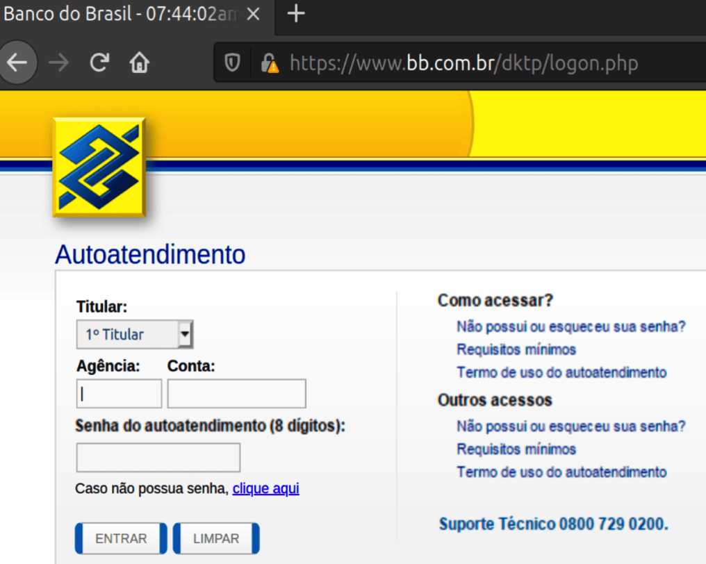 Fake Banco Do Brasil banking website (Note the warning on the TLS certificate)