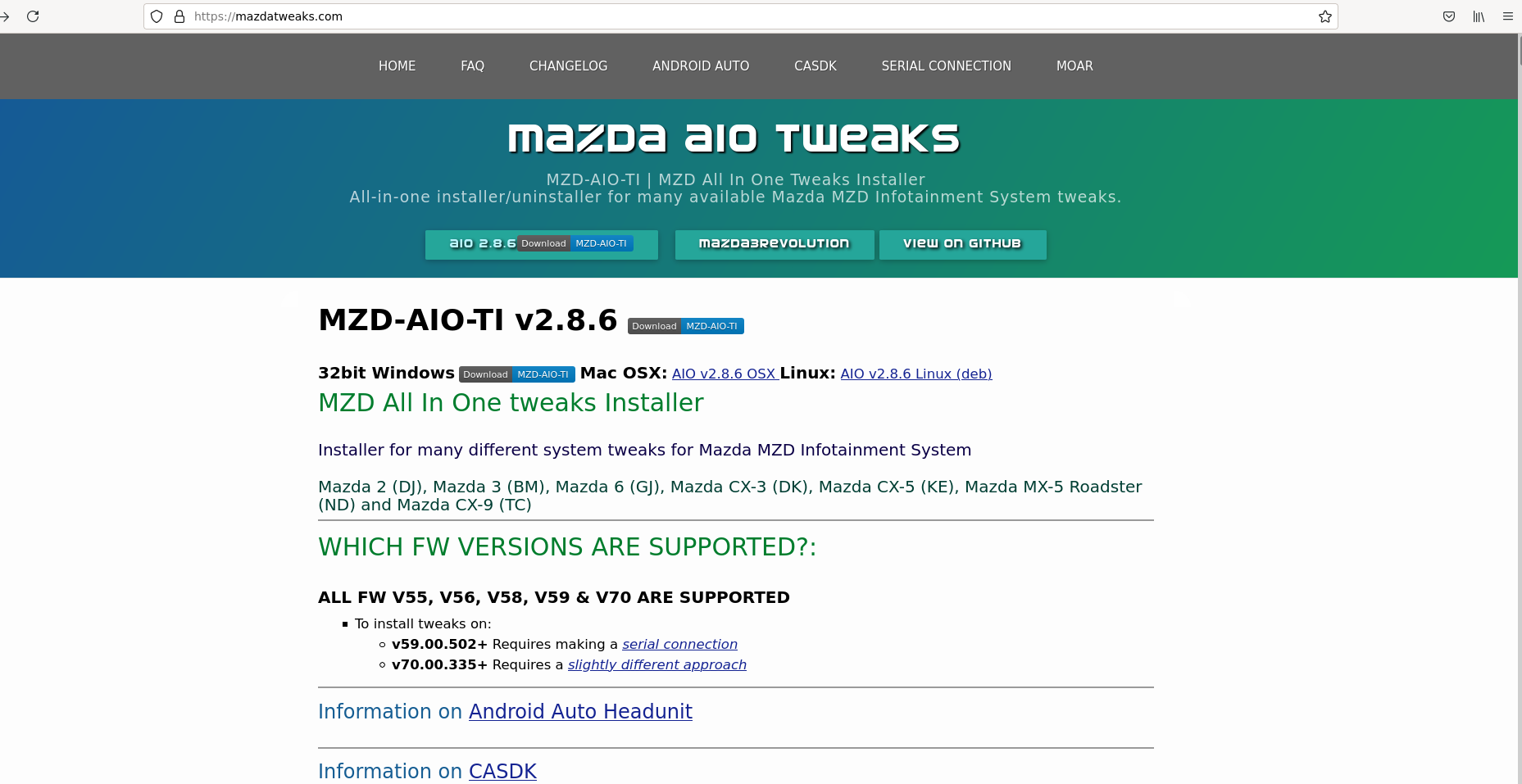 Landing page of the official Mazdatweaks AIO hack website