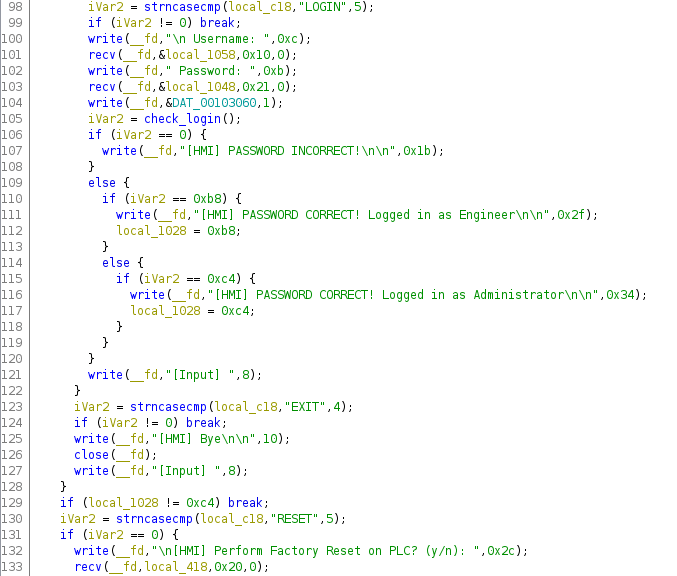 disassembled code connection handler function