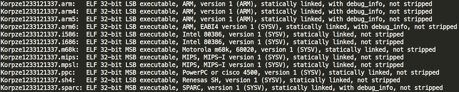 new botnet gafgyt mirai unstripped binary